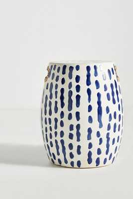 Indigo-Striped Ceramic Stool - Anthropologie