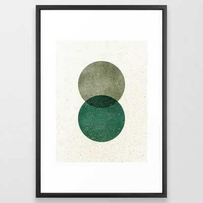 Circle Abstract - Greenery Framed Art Print - Society6