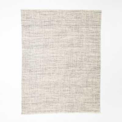 Mid-Century Heathered Basketweave Wool Rug - Steel - West Elm