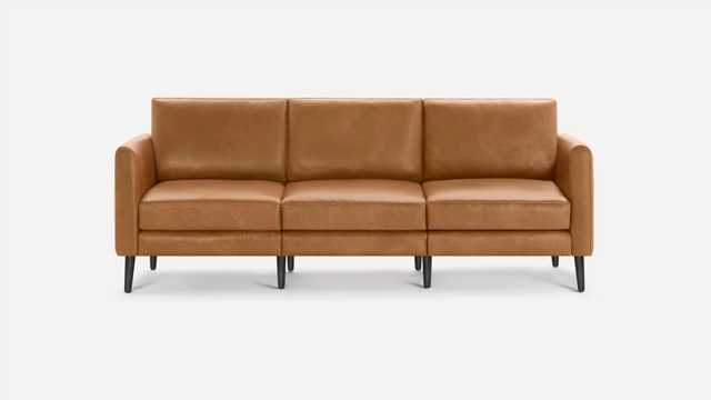 Burrow Brown Leather Sofa, 3 Seater, High Arms, Black Wood Legs | Nomad Collection - Burrow