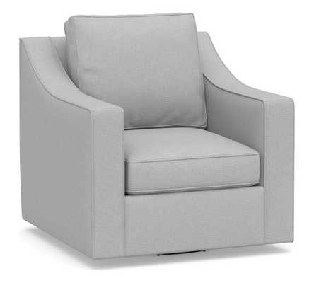 Cameron Slope Arm Upholstered Swivel Armchair, Polyester Wrapped Cushions, Brushed Crossweave Light Gray - Pottery Barn