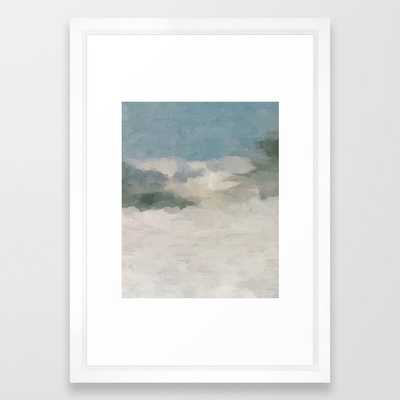 Modern Abstract Painting, Teal Blue, Sage Green, Beige Yellow Sandy Digital Prints Wall Art, Ocean Framed Art Print 15 x 21 - Society6