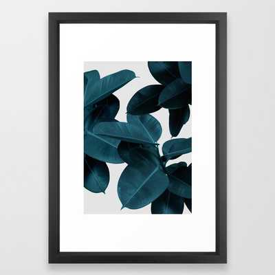 Indigo Blue Plant Leaves Framed Art Print by PrintsProject - Society6