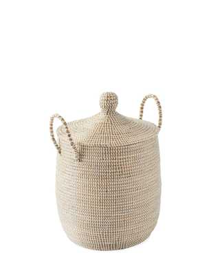 Solid La Jolla Small Basket - Natural/White - Serena and Lily