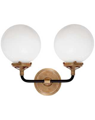 BISTRO DOUBLE SCONCE WITH WHITE GLASS SHADE - HAND-RUBBED ANTIQUE BRASS & BLACK - McGee & Co.