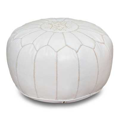Spada Moroccan Leather Pouf / White - Wayfair