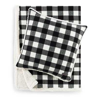 Eddie Bauer Cabin Plaid Black Ultra Soft Plush Throw and Pillow Set - Home Depot
