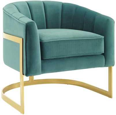 Dempster Vertical Channel Tufted Performance Velvet Accent Barrel Chair - Wayfair