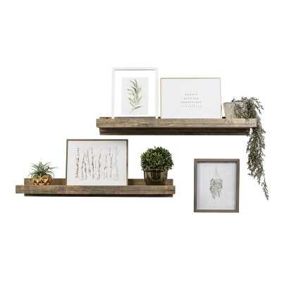 Tishie 2 Shelves 2 Piece Pine Solid Wood Floating Shelf (Set of 2) - Wayfair