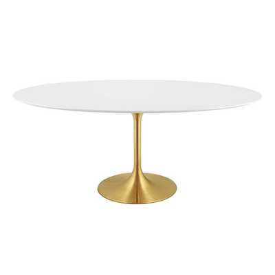 """LIPPA 78"""" OVAL DINING TABLE IN GOLD WHITE - Modway Furniture"""