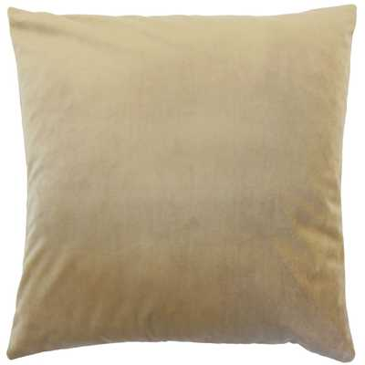 "Classic Velvet Pillow, Latte, 20"" x 20"" - Havenly Essentials"