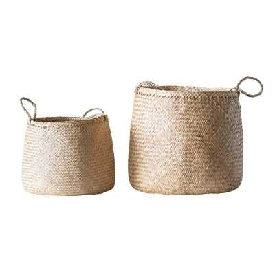 2 Piece Wicker/Rattan Basket Set - Birch Lane