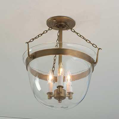 Smokebell Semi-Flush Ceiling Lantern - Antique Brass - Shades of Light
