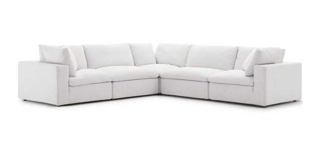 Commix Down Filled Overstuffed 5 Piece Sectional Sofa Set in Beige - Modway Furniture