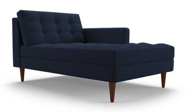 Blue Eliot Mid Century Modern Single Arm Chaise - Bentley Indigo - Medium - Right - Joybird
