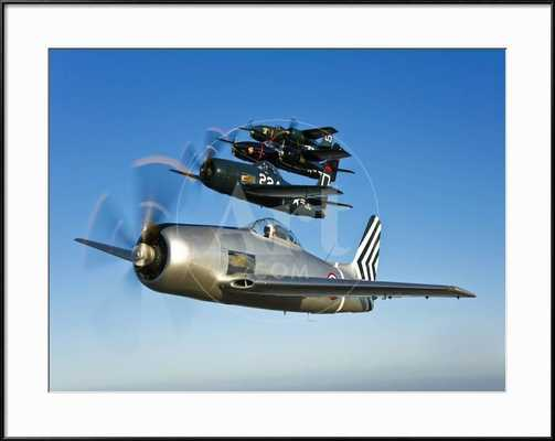 Two Grumman F8F Bearcats and Two F7F Tigercats Fly in Formation, 40 x 30, Ronda Frame - art.com