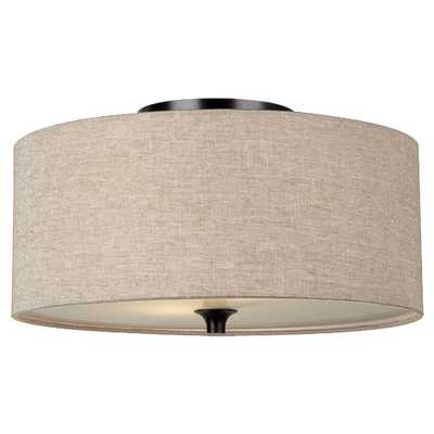 Sea Gull Lighting Stirling 14 in. W 2-Light Burnt Sienna Flushmount with Beige Linen Drum Shade - Home Depot