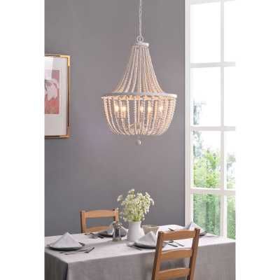 Tilden Wood Bead 5-Light Empire Chandelier, Whitewash - Wayfair