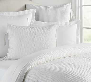 Pick-Stitch Handcrafted Quilt, Full/Queen, White - Pottery Barn