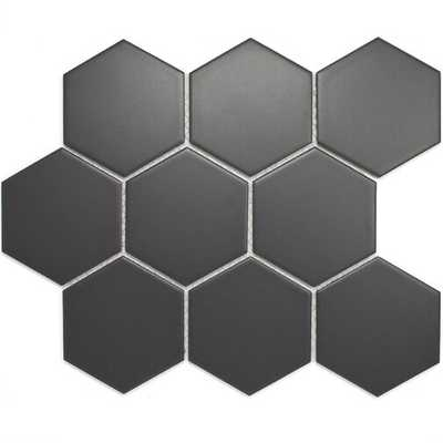 "4"" x 4"" Porcelain Mosaic Tile in Dark Gray, 10'' W x 10.75'' L sheet size - 1 box - Wayfair"