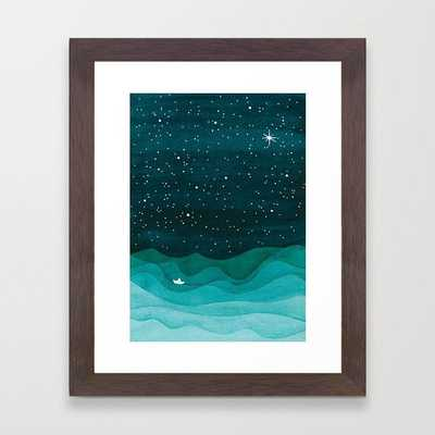Starry Ocean, teal sailboat watercolor sea waves night Framed Art Print - Society6