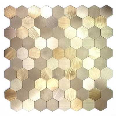 Enchanted Metals 12 in. x 12 in. Gold Aluminum Hexagon Peel and Stick Decorative Wall Tile, Yellows/Golds - Home Depot