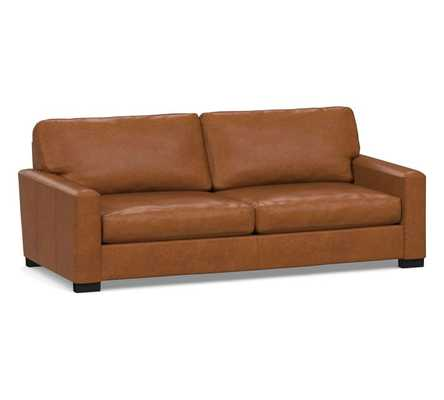 """PB Comfort Square Arm Leather Sofa 78"""", Polyester Wrapped Cushions, Signature Maple - Pottery Barn"""