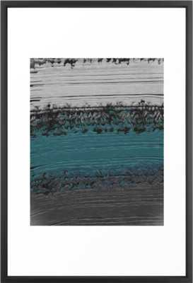 Teal and Gray Abstract Framed Art Print - Society6