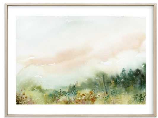 "MeadowLand 40"" x 30"" Matte Brass Frame White Border - Minted"