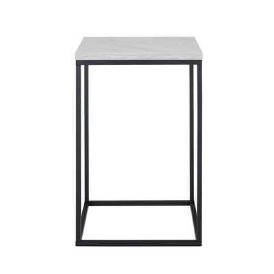 Dorsey Frame End Table, White Faux Marble - Wayfair
