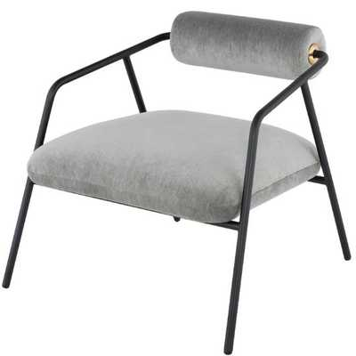 Cyrus Occasional Chair by District Eight - Limestone Velvet Seat / Matte Black Steel Frame - Burke Decor