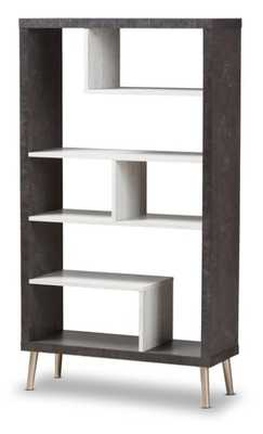 BAXTON STUDIO ATLANTIC MODERN AND CONTEMPORARY DARK BROWN AND LIGHT GREY TWO-TONE FINISHED WOOD DISPLAY SHELF - Lark Interiors