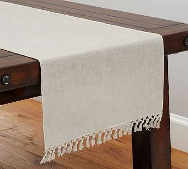 Fringed Linen Knotted Table Runner, Large, Flax - Pottery Barn