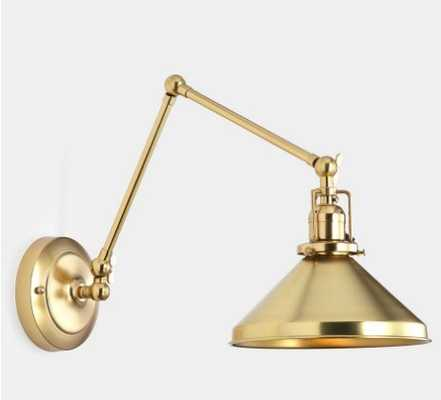 """Imbrie Articulating Sconce- Aged Brass with 8"""" Aged Brass Cone shade - Rejuvenation"""