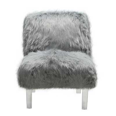 Park Accent Sleek Stylish Faux Fur Upholstered Armless Side Chair - Wayfair