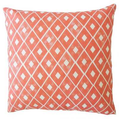 Kaffi Geometric Pillow - white - 20 x 20 with down insert - Linen & Seam