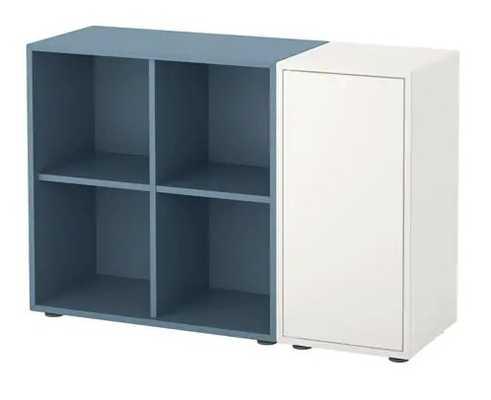 EKET Storage combination with feet, white, light blue - Ikea