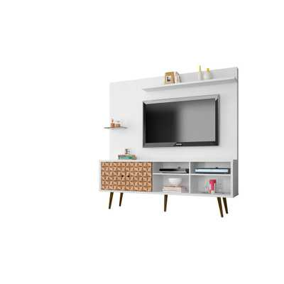 Liberty 70.87 in. White and 3D Brown Print Freestanding Entertainment Center - Home Depot