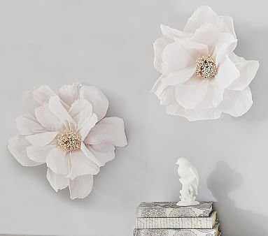 White Wall Flower Decor S/2 Small And Large - Pottery Barn Kids