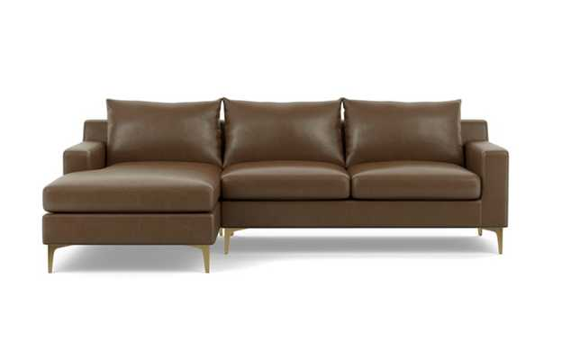 "Sloan Leather Sectional Sofa with Left Chaise - 96"" - Pecan Leather - Brass Plated Leg - Interior Define"