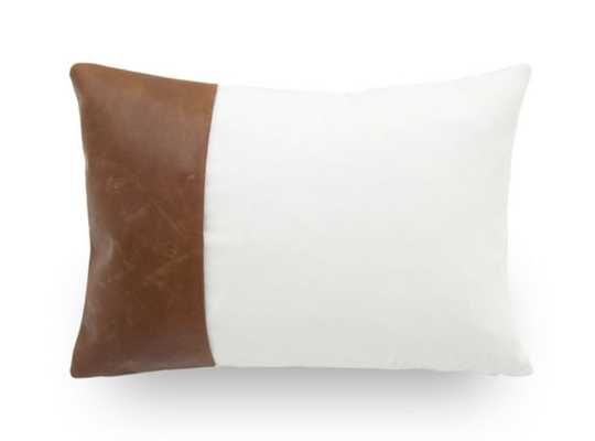 LEATHER AND COTTON COLOR BLOCK PILLOW - Mitchell Gold + Bob Williams