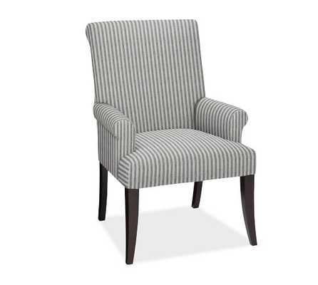 PB Comfort Roll Upholstered Dining Arm Chair, Vintage Stripe Black/Ivory - Pottery Barn