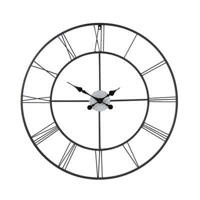 Centurian 30 in. Dia. Metal Wall Clock, Blacks - Home Depot