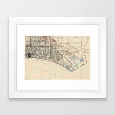 "Vintage Map of Long Beach California (1923) Framed Art Print, FRAME Vector White, SIZE X-Small - 10"" X 12"" - Society6"