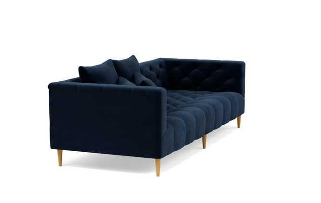 """MS. CHESTERFIELD - Navy blue Performance Velvet - Natural Oak Tapered legs - 90"""" Length - Interior Define"""