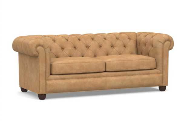 """Chesterfield Roll Arm Leather Sofa 86"""", Polyester Wrapped Cushions, Nubuck Fawn - Pottery Barn"""