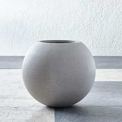 Sphere Small Light Grey Planter - Crate and Barrel