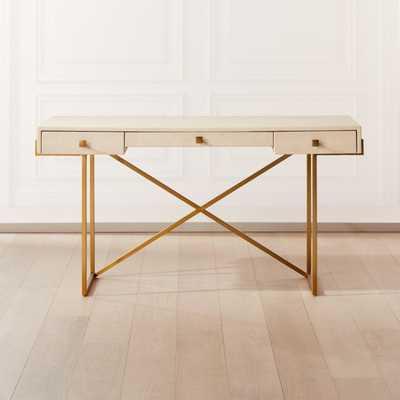 Avalon Ivory Faux Shagreen Desk - CB2