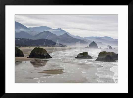 "USA, Oregon, Cannon Beach. Fog Rises over Coastline at Low Tide 36 x 24""Gramercy Frame - art.com"