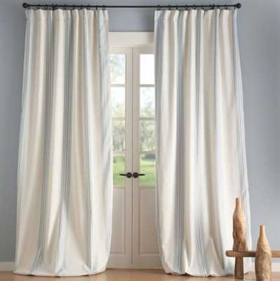 "Riviera Striped Linen/Cotton Rod Pocket Blackout Curtain, 50 X 96"", Porcelian - Pottery Barn"